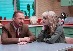Michael Keaton and Emma Stone bond in the top 2014 drama Birdman.