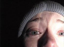 Heather Donahue, scared as hell, in the Blair Witch Project
