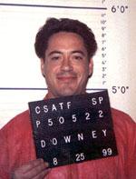 Robert Downey, Jr. mugging for the mugshot camera in 1999.
