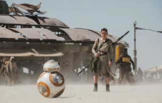 Rey (Daisy Ridley) and BB8 welcome a new generation into that galaxy far, far away in the top-grossing sci-fi film of all time, Star Wars: The Force Awakens