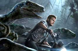 Chris Pratt leads the charge of the raptor brigade in the top action movie of 2015, Jurassic World