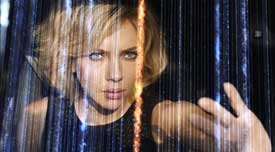 Scarlett Johansson gets cyber-natural in the top 2014 sci-fi film Lucy.