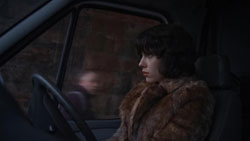 Scarlett Johansson searches for her next victim in the 2014 top sci-fi film Under the Skin