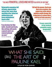 What She Said: The Art of Pauline Kael Blu-Ray Cover