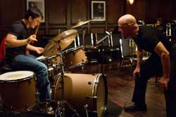 Miles Teller tries to keep up with J.K. Simmons' harsh lessons in the Academy Award-Winner Drama, Whiplash.