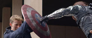 Captain America (Chris Evans) faces off against The Winter Solider (Sebastian Stan) in one of the top action movies of 2014.